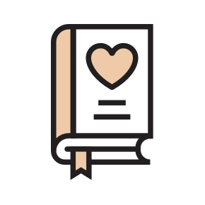 Cartoon icon of a book with a heart on the cover